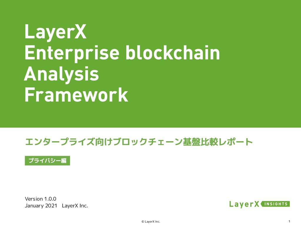 1 © LayerX Inc. Version 1.0.0 January 2021 Laye...