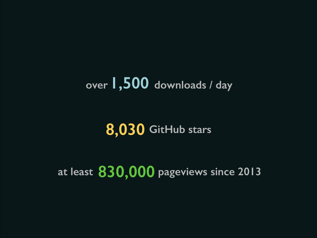 at least pageviews since 2013 830,000 GitHub st...