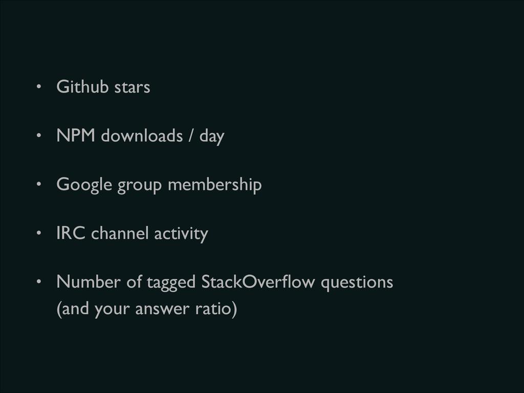• Github stars  • NPM downloads / day  • Go...