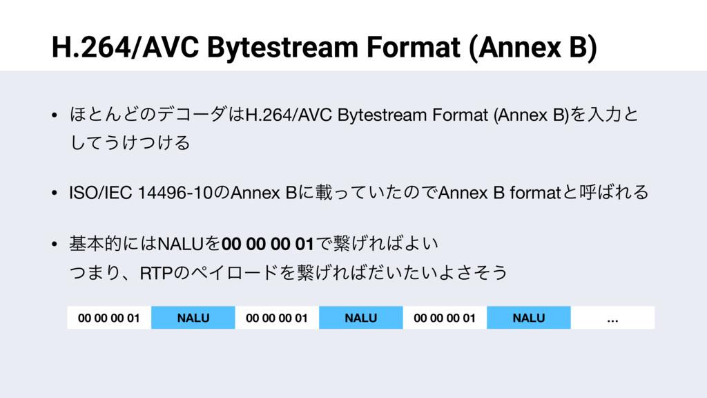 H.264/AVC Bytestream Format (Annex B) • ΄ͱΜͲͷσί...