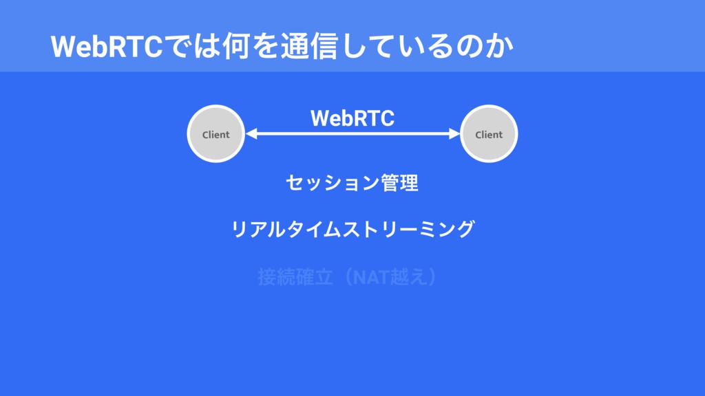 WebRTCͰԿΛ௨৴͍ͯ͠Δͷ͔ Client WebRTC Client ηογϣϯཧ...