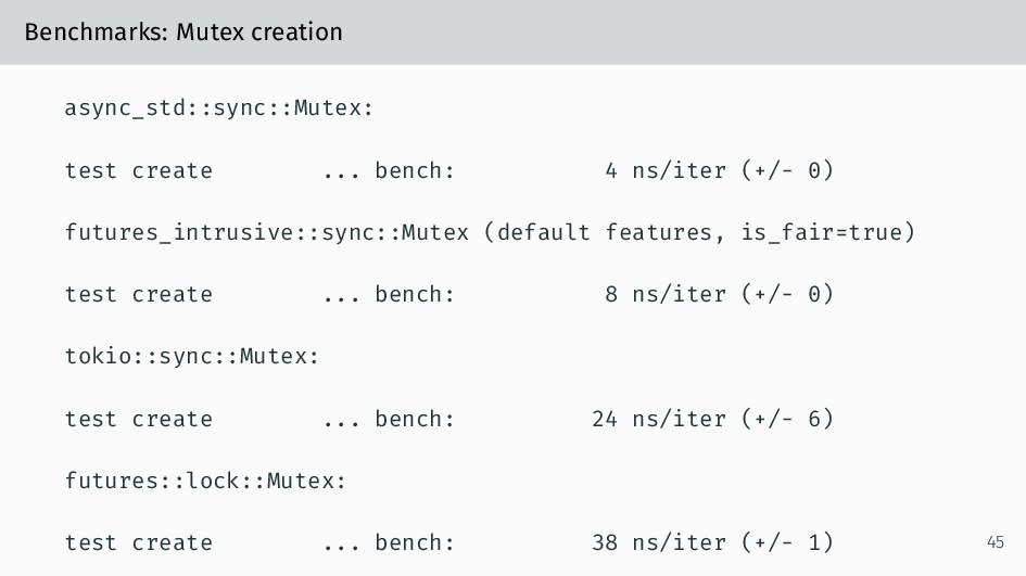 Benchmarks: Mutex creation async_std::sync::Mut...