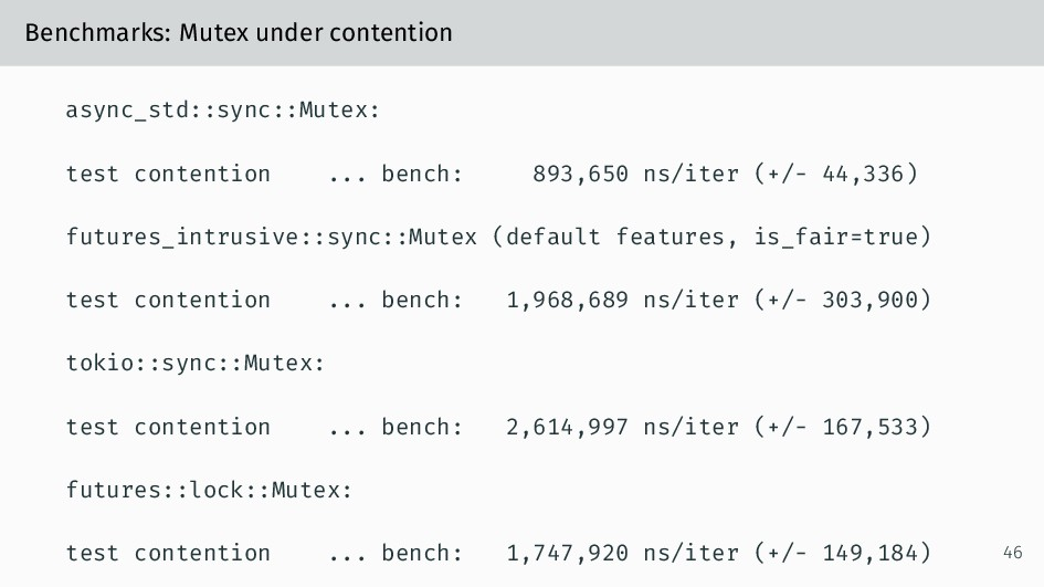 Benchmarks: Mutex under contention async_std::s...