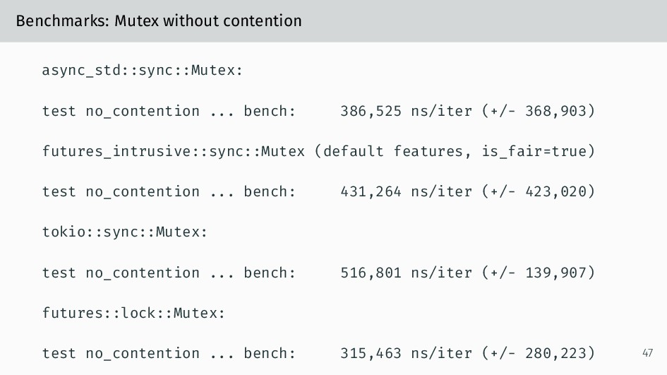 Benchmarks: Mutex without contention async_std:...