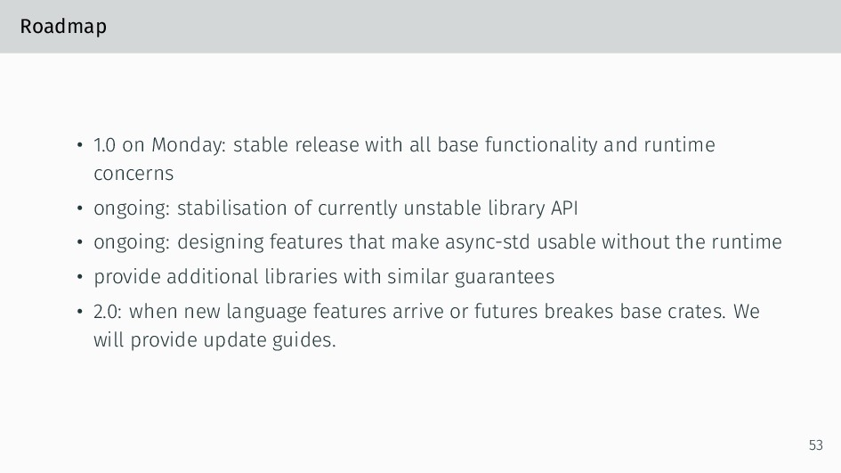 Roadmap • 1.0 on Monday: stable release with al...