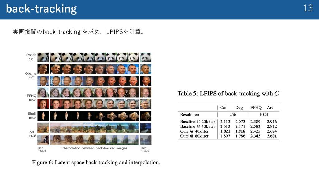 13 back-tracking 実画像間のback-tracking を求め、LPIPSを計...