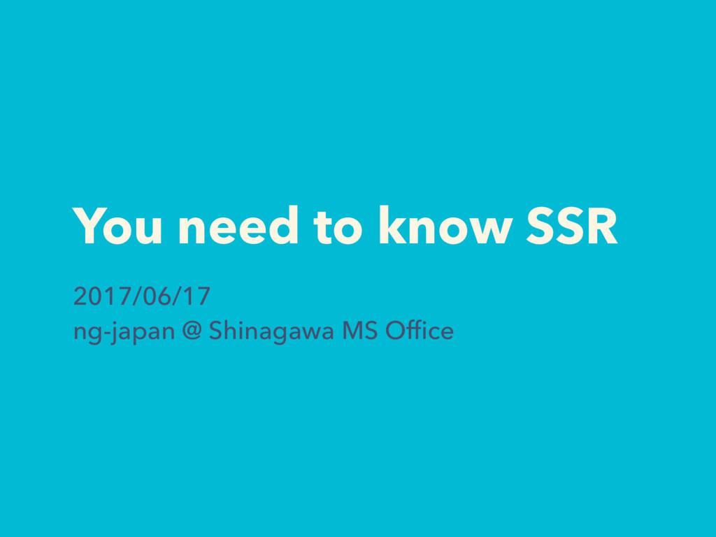 You need to know SSR 2017/06/17 ng-japan @ Shin...