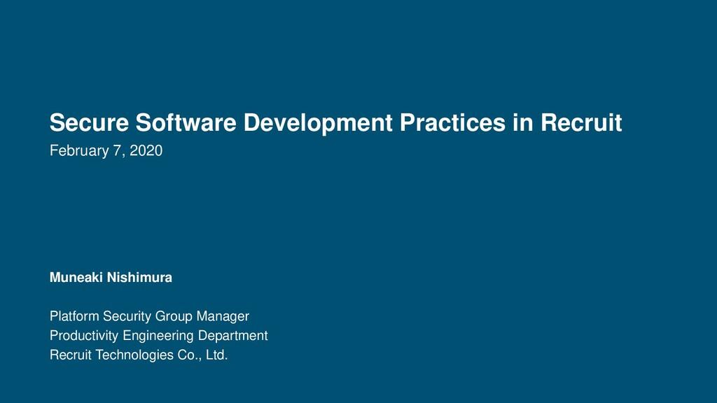 Secure Software Development Practices in Recrui...