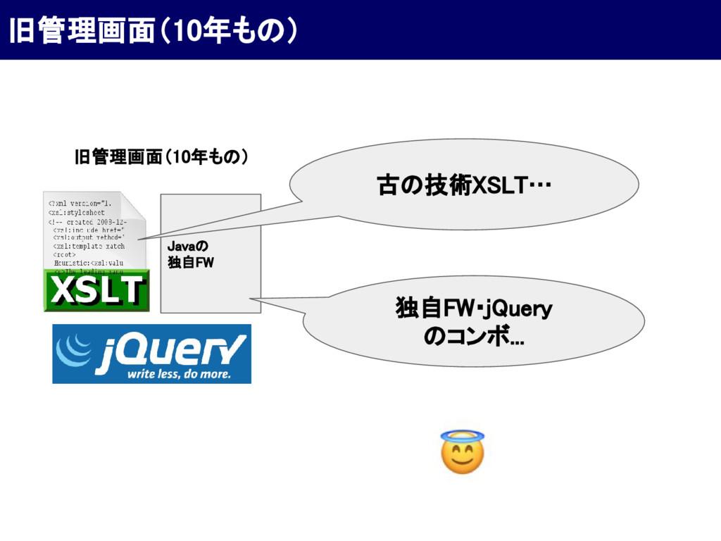 旧管理画面(10年もの) Javaの 独自FW 古の技術XSLT… 旧管理画面(10年もの) ...