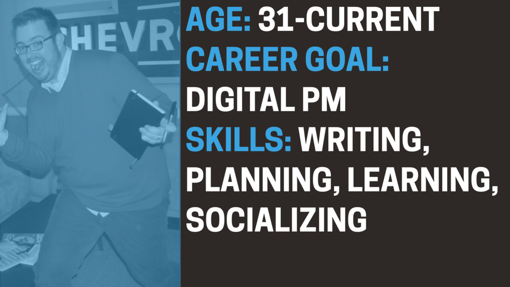 AGE: 31-CURRENT CAREER GOAL: DIGITAL PM SKILLS:...