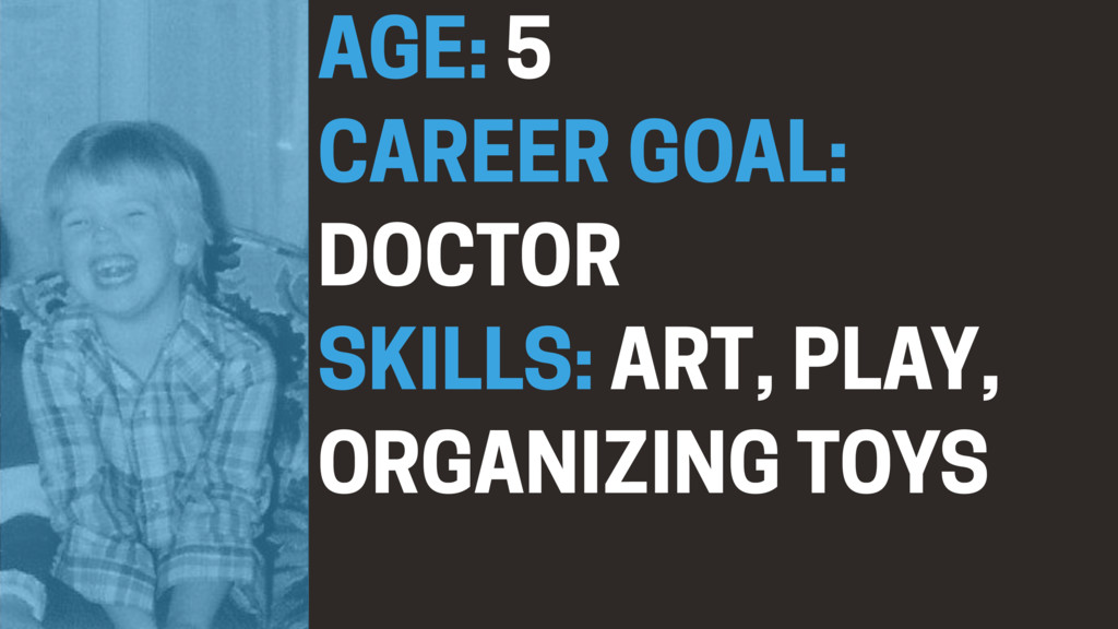 AGE: 5 CAREER GOAL: DOCTOR SKILLS: ART, PLAY, O...