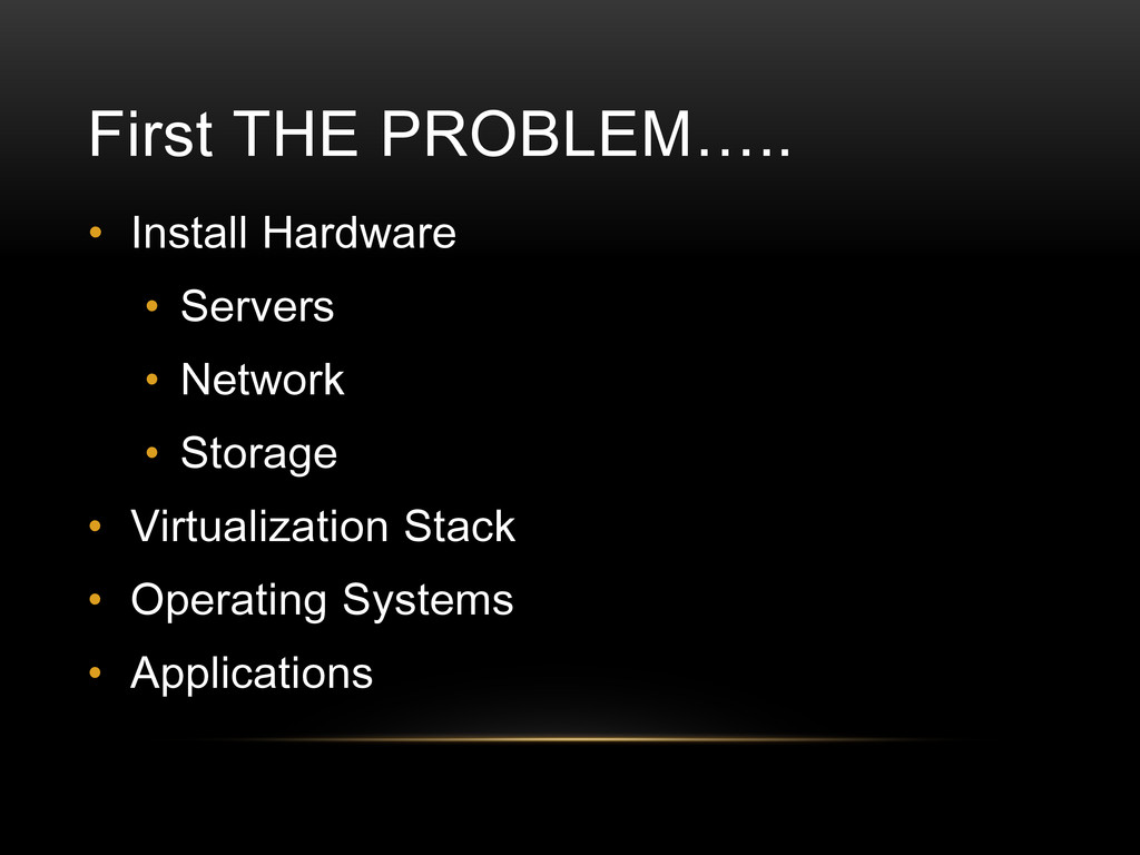 First THE PROBLEM….. • Install Hardware • Serve...