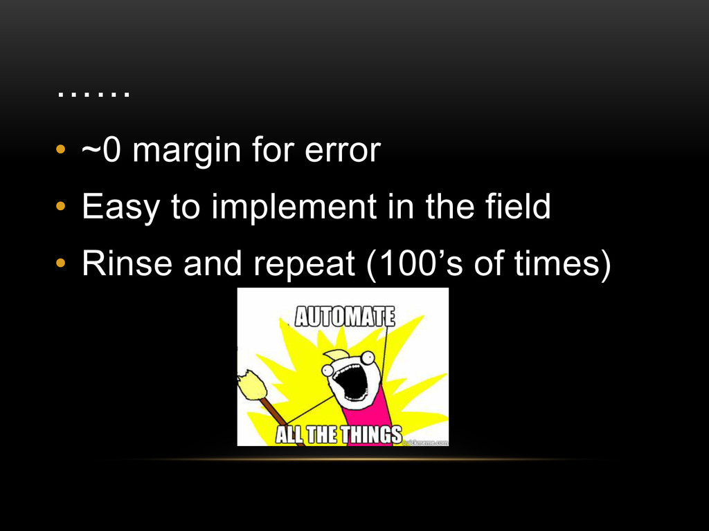 …… • ~0 margin for error • Easy to implement in...