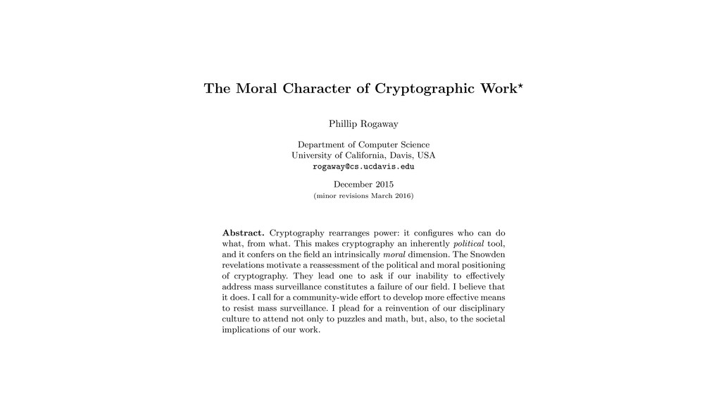 The Moral Character of Cryptographic Work? Phil...