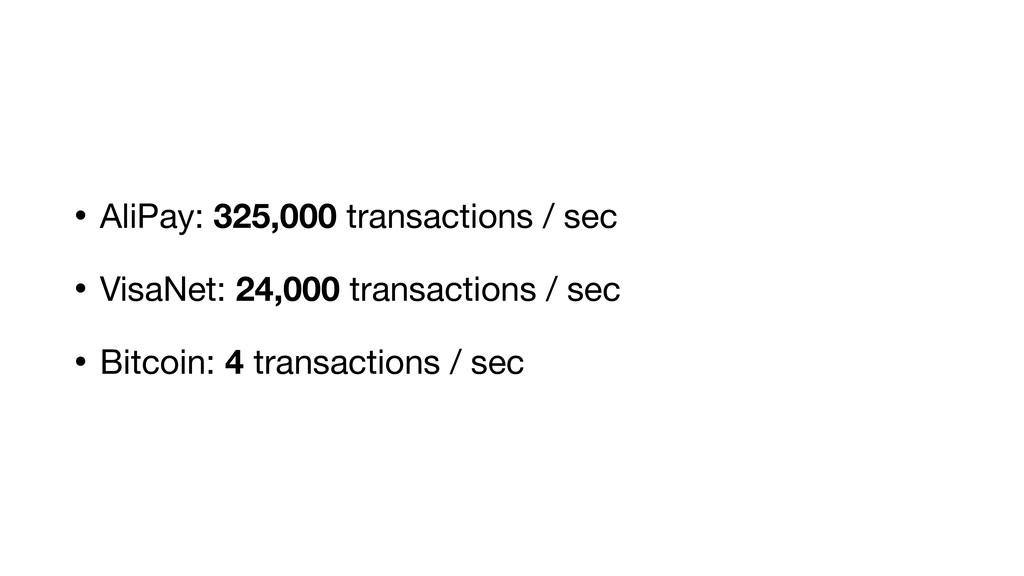 • AliPay: 325,000 transactions / sec  • VisaNet...