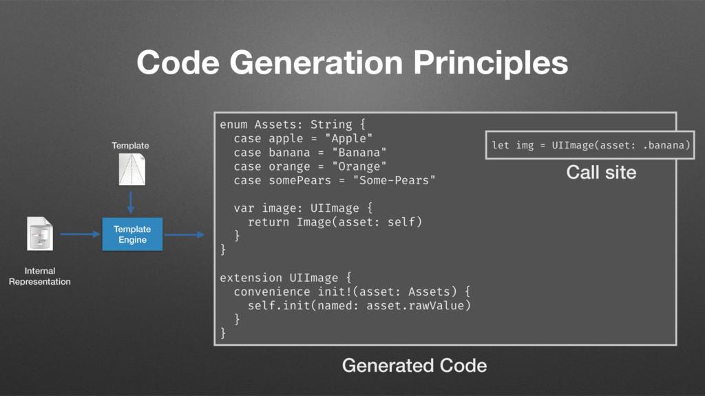 Code Generation Principles enum Assets: String ...