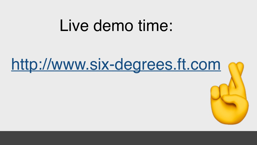 Live demo time: http://www.six-degrees.ft.com