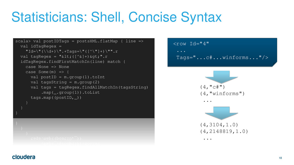 18 Statisticians: Shell, Concise Syntax <row Id...