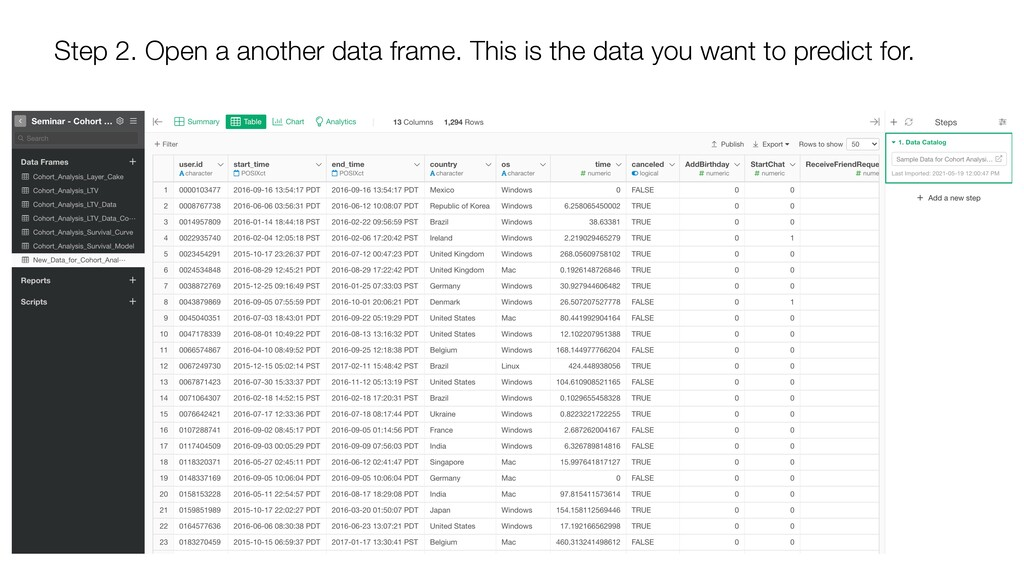 Step 2. Open a another data frame. This is the ...