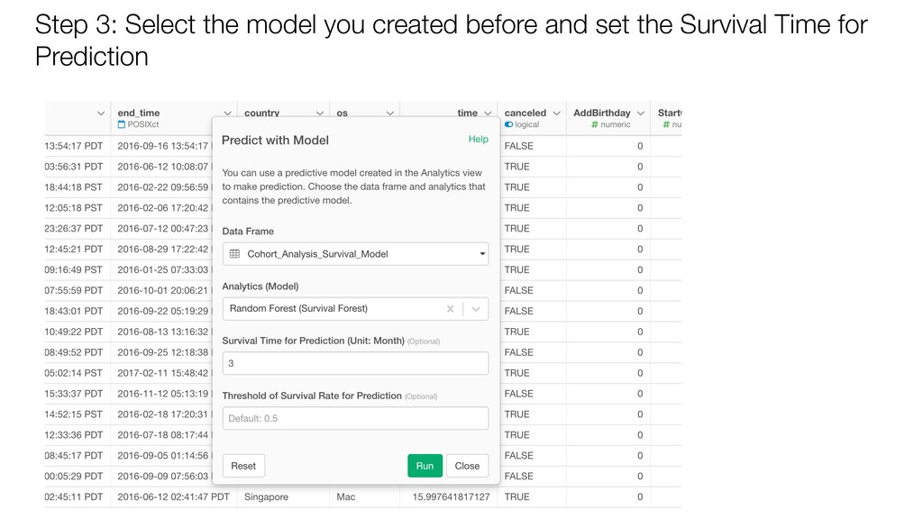 Step 3: Select the model you created before and...