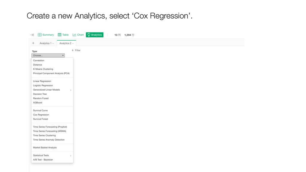 Create a new Analytics, select 'Cox Regression'.