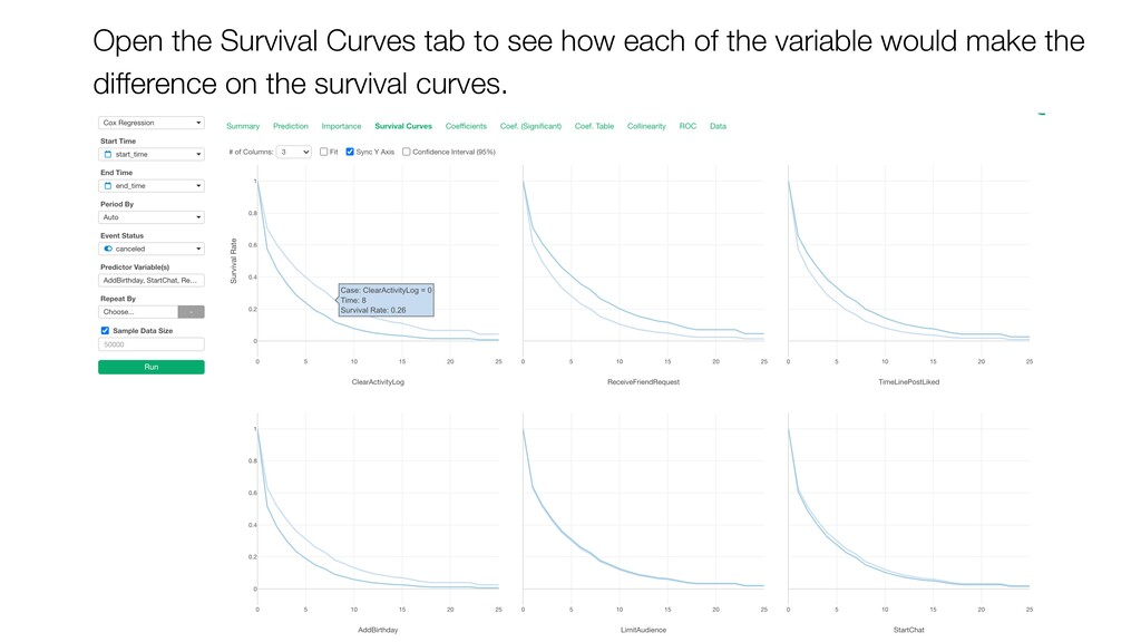 Open the Survival Curves tab to see how each of...