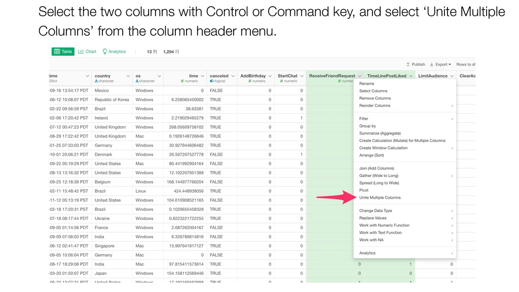 Select the two columns with Control or Command ...