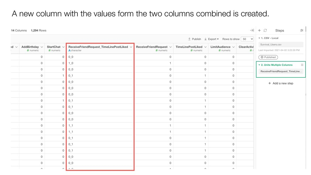 A new column with the values form the two colum...