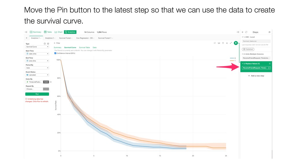 Move the Pin button to the latest step so that ...