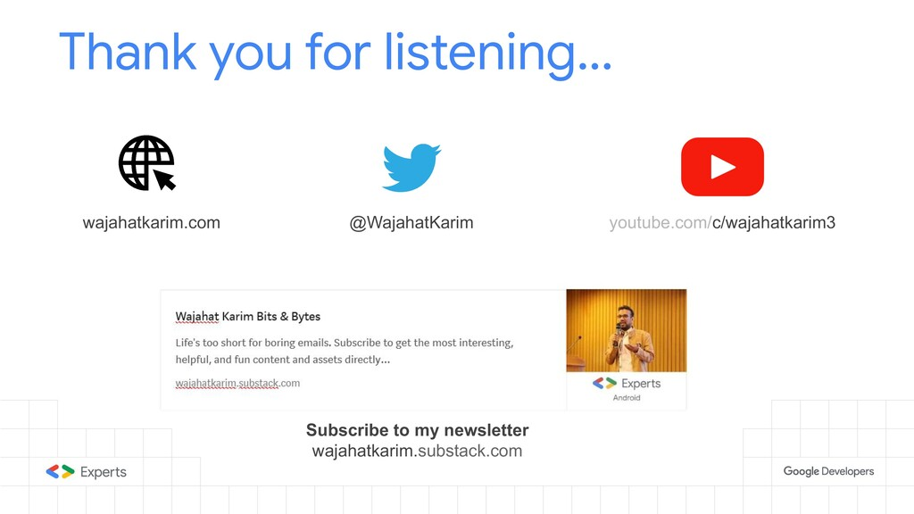 Thank you for listening... @WajahatKarim wajaha...