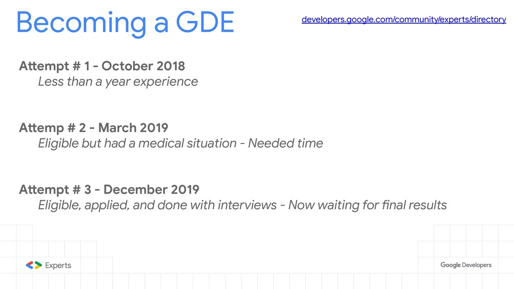 Becoming a GDE developers.google.com/community/...