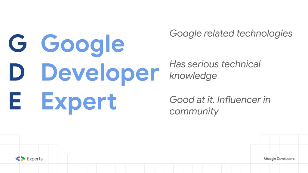 G D E Google Developer Expert Google related te...
