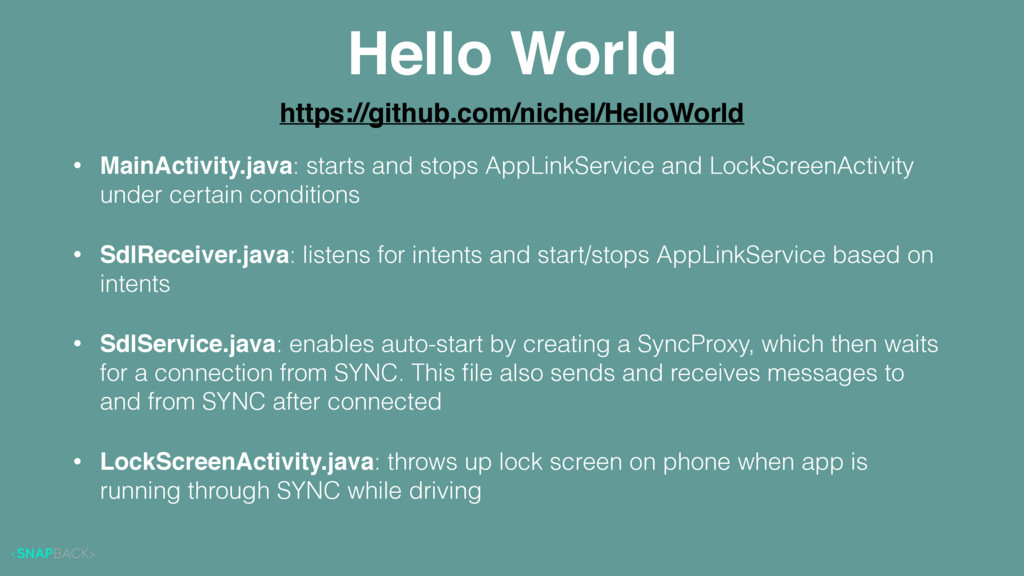 Hello World • MainActivity.java: starts and sto...