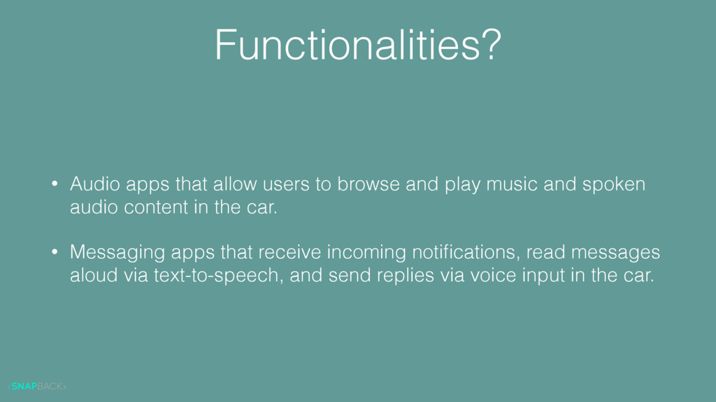 Functionalities? • Audio apps that allow users ...