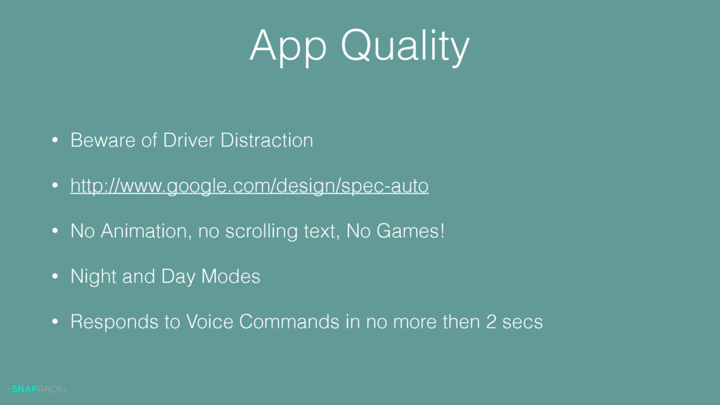 App Quality • Beware of Driver Distraction • ht...