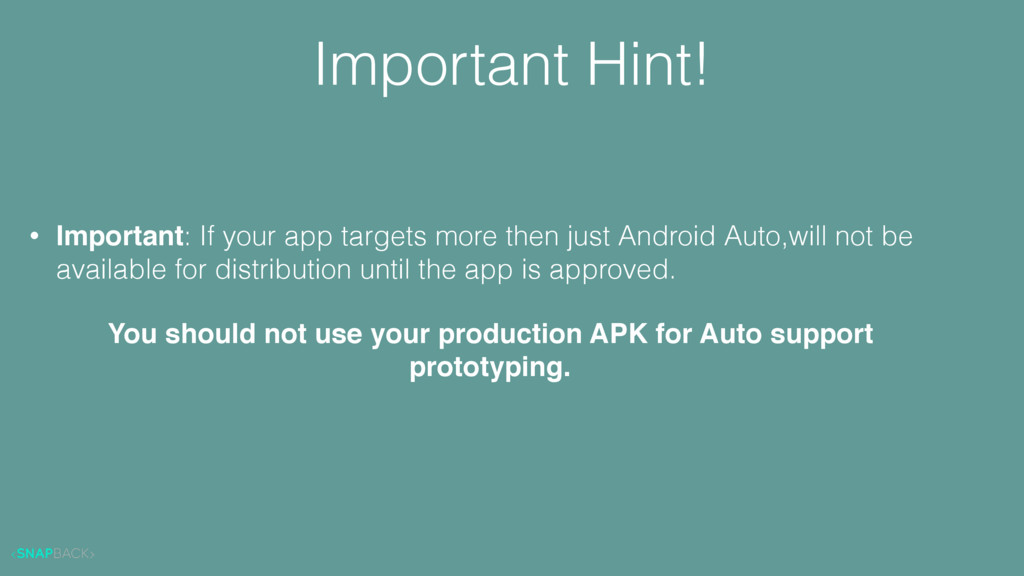 Important Hint! • Important: If your app target...