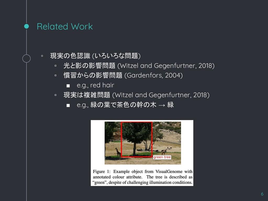 Related Work ◦ 現実の色認識 (いろいろな問題) ▫ 光と影の影響問題 (Wit...