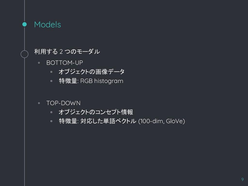 Models 利用する 2 つのモーダル ◦ BOTTOM-UP ▫ オブジェクトの画像データ...