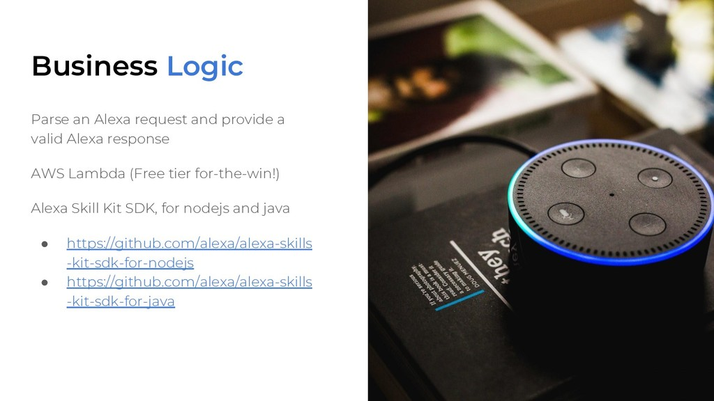 Business Logic Parse an Alexa request and provi...