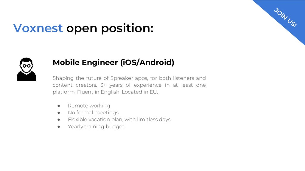 Voxnest open position: Mobile Engineer (iOS/And...