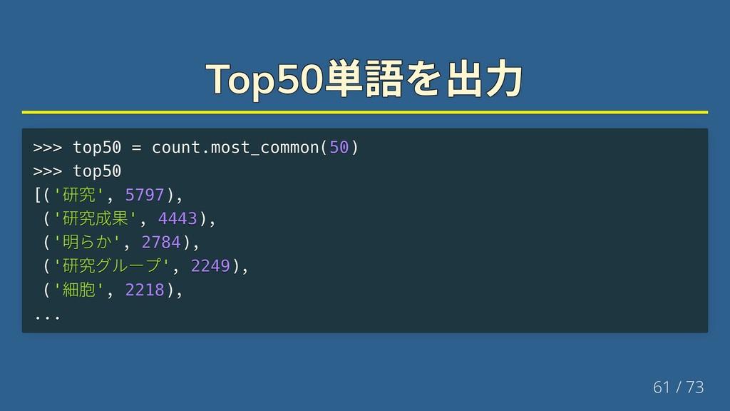 Top50 単語を出力 Top50 単語を出力 Top50 単語を出力 Top50 単語を出力...