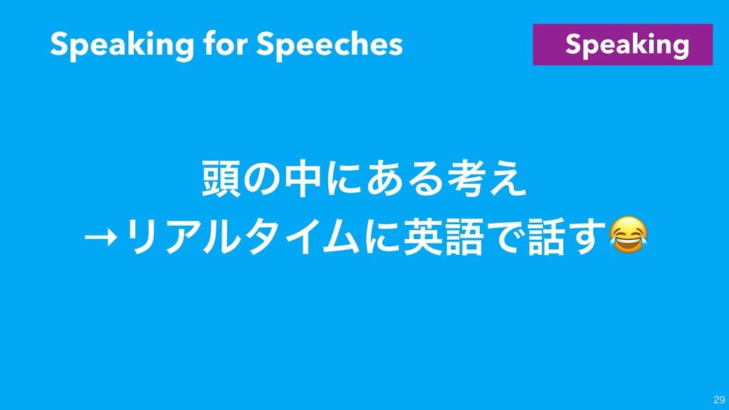Speaking ಄ͷதʹ͋Δߟ͑ →ϦΞϧλΠϜʹӳޠͰ͢ Speaking for Sp...