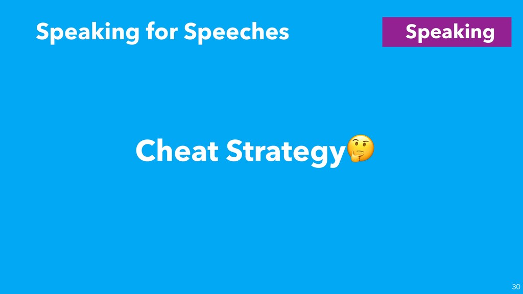 Speaking Speaking for Speeches  Cheat Strategy