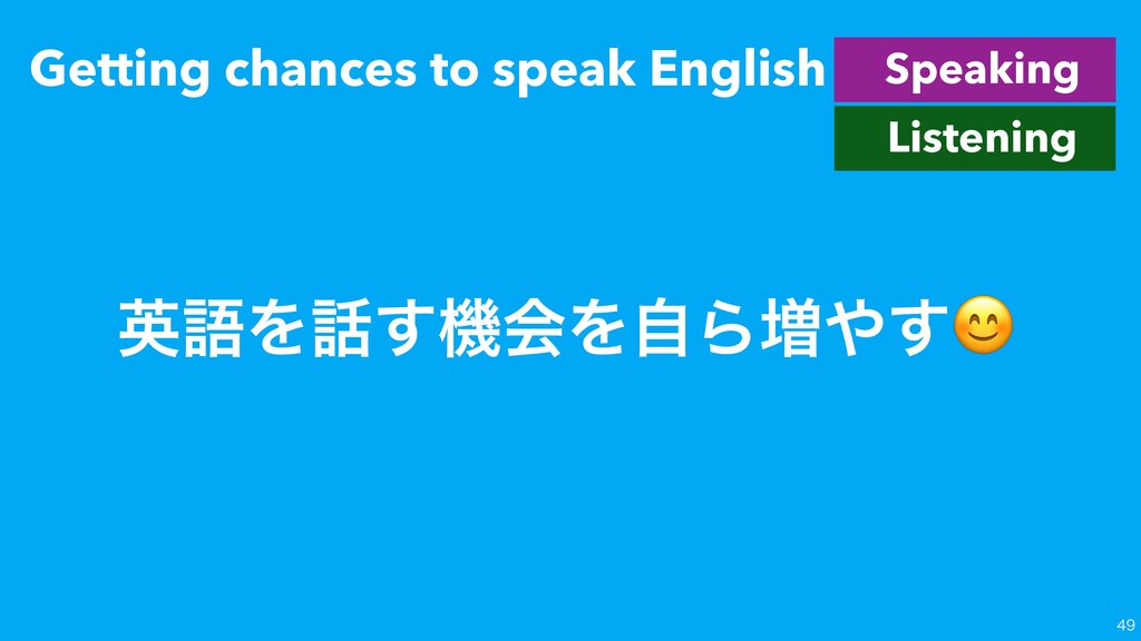 Getting chances to speak English  Speaking Li...