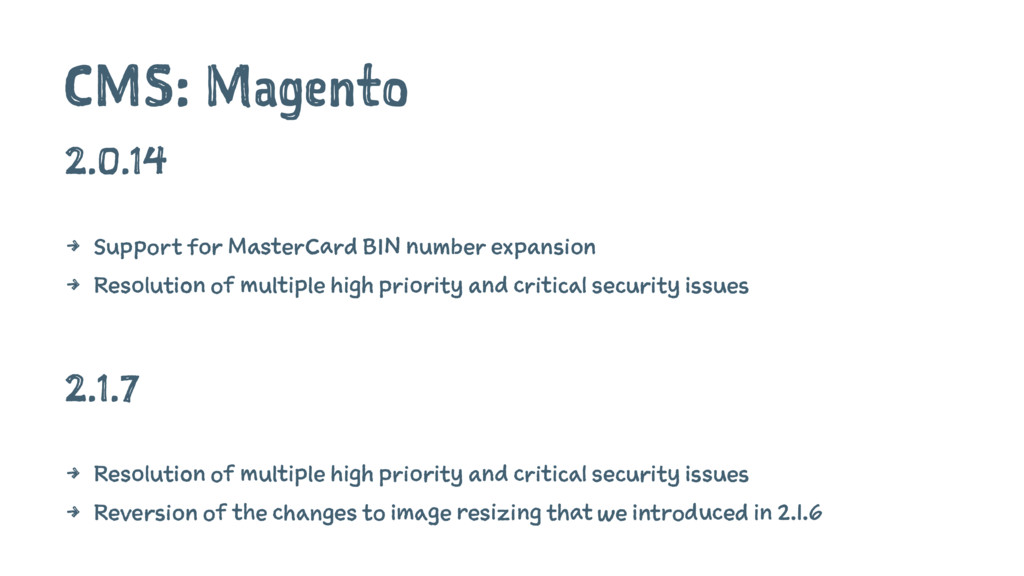 CMS: Magento 2.0.14 4 Support for MasterCard BI...
