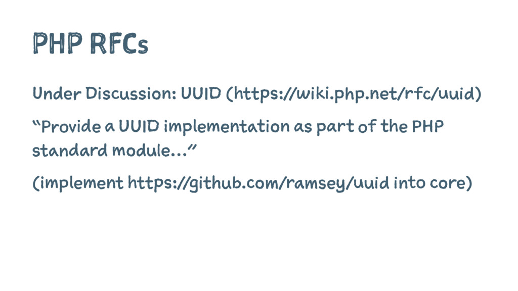 PHP RFCs Under Discussion: UUID (https://wiki.p...