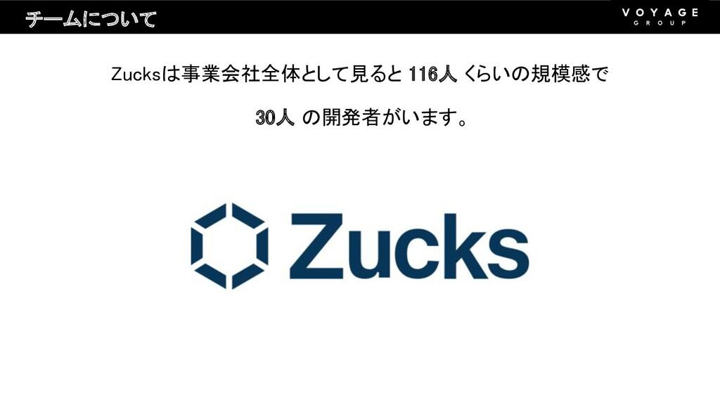 Zucksは事業会社全体として見ると 116人 くらいの規模感で 30人 の開発者がいます。...