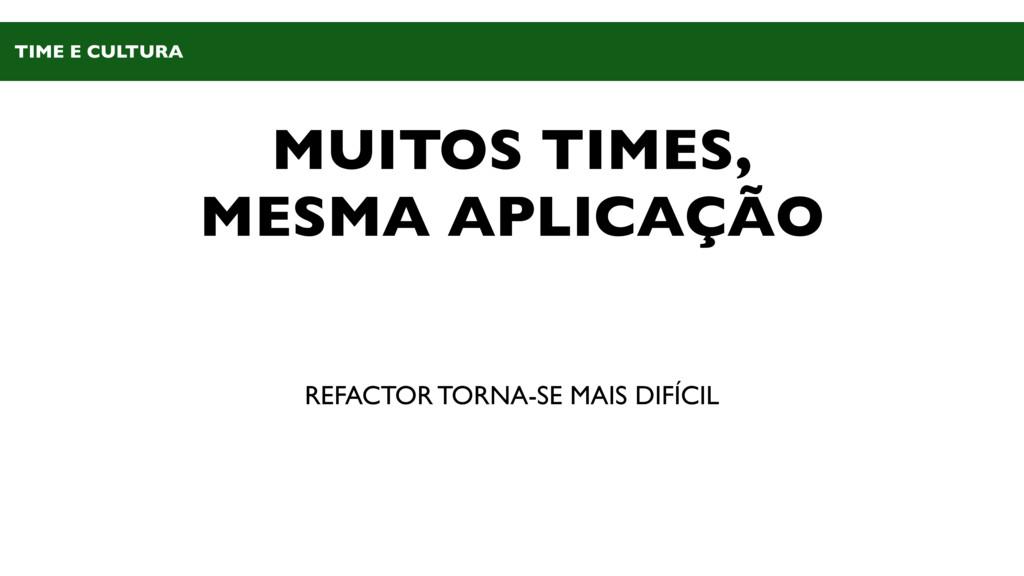 MUITOS TIMES, MESMA APLICAÇÃO REFACTOR TORNA-SE...