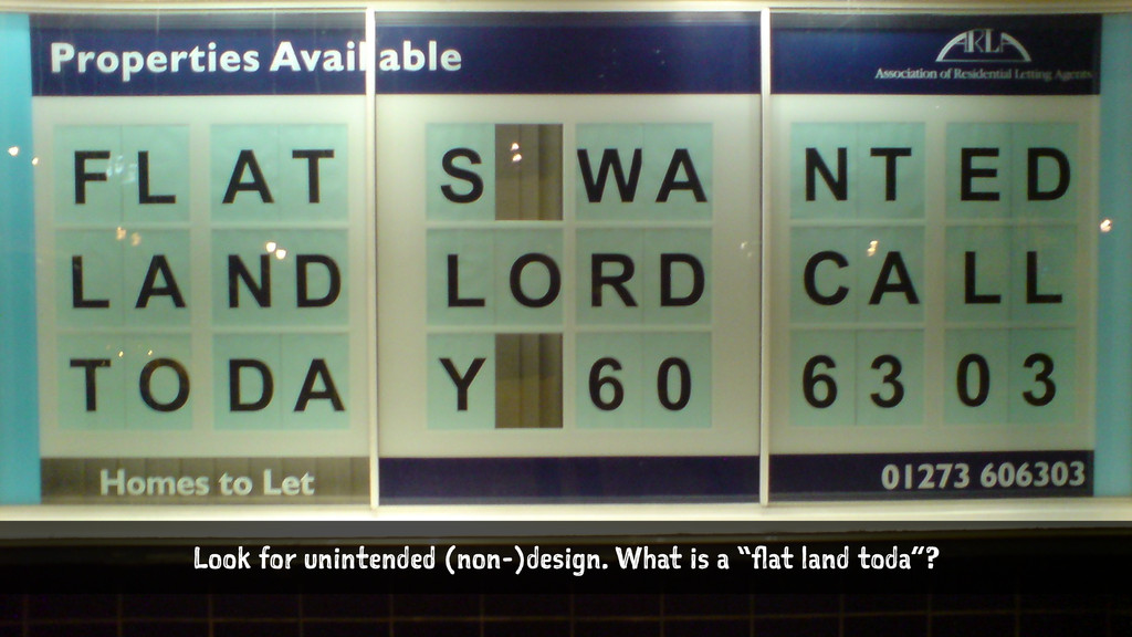 "Look for unintended (non-)design. What is a ""fl..."