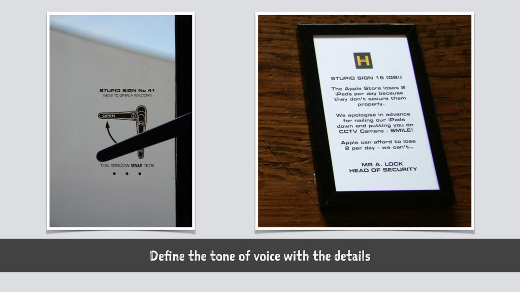 Define the tone of voice with the details